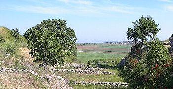 The view from Hisarlık across the plain of Ilium to the Aegean Sea