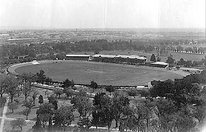 Adelaide Oval - Adelaide Oval from the Cathedral Spire in 1902. A game between SA and NSW is in progress.