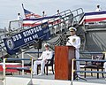 Adm. Rick Williamson delivers remarks during the decommissioning of USS Simpson. (21680724830).jpg