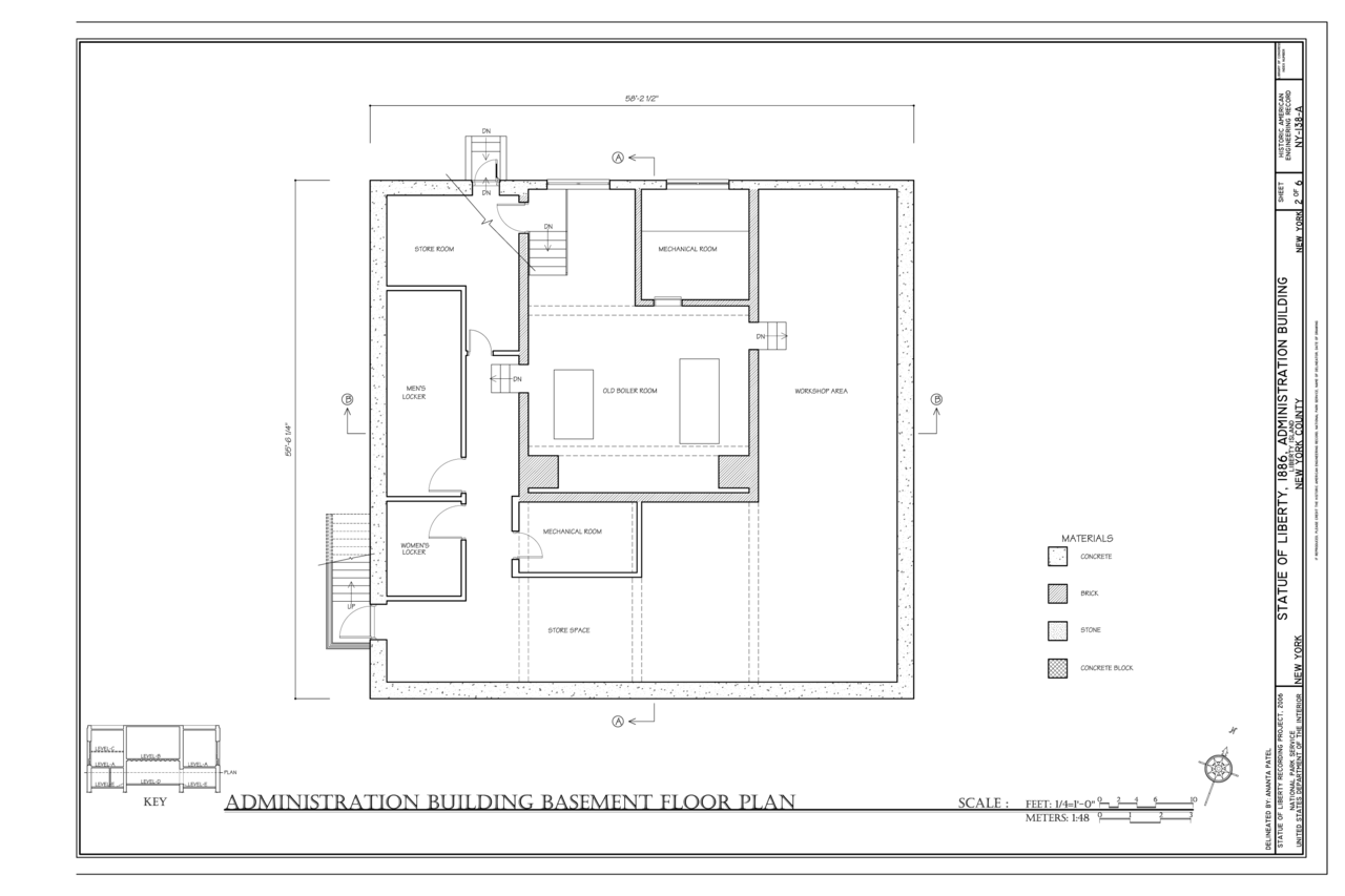 File Administration Building Basement Floor Plan Statue