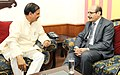 Adnan M.A. Abualhayjaa meeting the Minister of State for Culture (Independent Charge), Tourism (Independent Charge) and Civil Aviation, Dr. Mahesh Sharma, in New Delhi on September 03, 2015.jpg