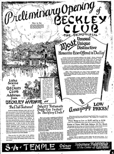 Beckley Club Estates human settlement in Dallas, Texas, United States of America
