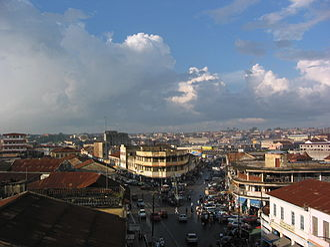 Kumasi Metropolitan Assembly - Aerial view of submetro Nhyiaeso in Kumasi Metropolitan Assembly (Kumasi Metropolis) in 2003