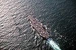 Aerial view of USS America (CV-66) returning to the United States after Operation Desert Storm 1991 US Navy DN-ST-93-04139.jpg