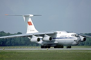 Aeroflot Ilyushin Il-76TD at Zurich Airport in May 1985.jpg