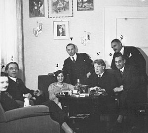 Agi Jambor - Agi Jambor (seated centre) with Alfred Cortot (seated to her left) and Edwin Fischer (seated to her right) in 1930