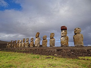 Ahu Tongariki stone platform on Easter Island