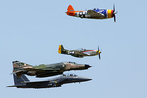 Aircraft Fighter Plane P-47 Thunderbolt, P-51 Mustang, F-4 Phantom, F-15 Strike Eagle