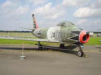 "German Air Force - The Canadian version of the North American F-86 Sabre, the Canadair CL-13, had a long career in the Luftwaffe; 75 Mk. 5 and 225 Mk. 6 examples served. This preserved aircraft at the Luftwaffenmuseum der Bundeswehr is in the markings of JG 71 ""Richthofen"", call sign ""JA 111"", flown by Major Erich Hartmann."