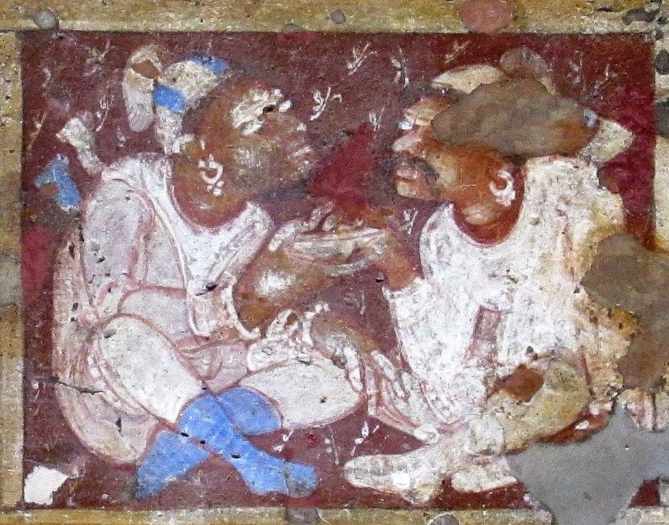 Ajanta Cave 2 Veranda ceiling foreigners