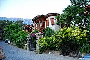 Akyaka, Muğla - Architecture in the Mugla houses as seen in the wood handcrafted shutters, balconies, doors and roof