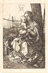 La Vierge assise, embrassant l'enfant Jésus