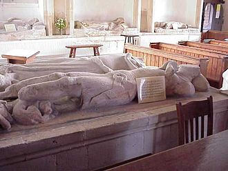 Aldworth - The aldworth giants, pictured, are on all sides of pews in Aldworth's church and are up to seven-foot tall, laid flat stone effigies to members of a family.