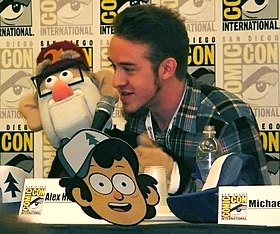 Alex Hirsch and Grunkle Stan puppet at San Diego Comic-Con International 2013.jpg
