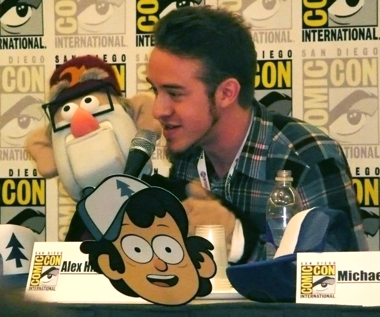Alex Hirsch and Grunkle Stan puppet at San Diego Comic-Con International 2013