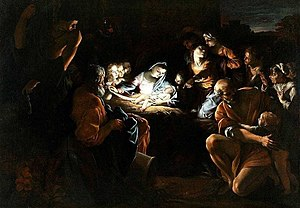 Adoration of the Shepherds (Domenichino) - The Giovanni Lanfranco Adoration at Alnwick Castle, 1607–08