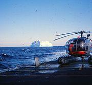 Alouette III på Inspektionsskibet Beskytteren