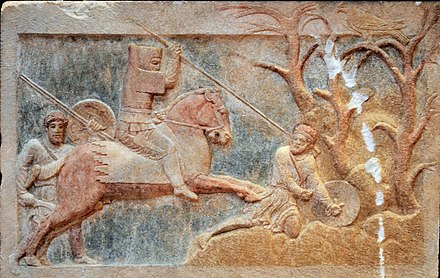 Persian cavalry from Asia Minor under Pharnabazus composed the superior cavalry of Eumenes in the Battle of the Hellespont (321 BC). Altikulac Sarcophagus Altikulac Sarcophagus Combat scene (detail).jpg