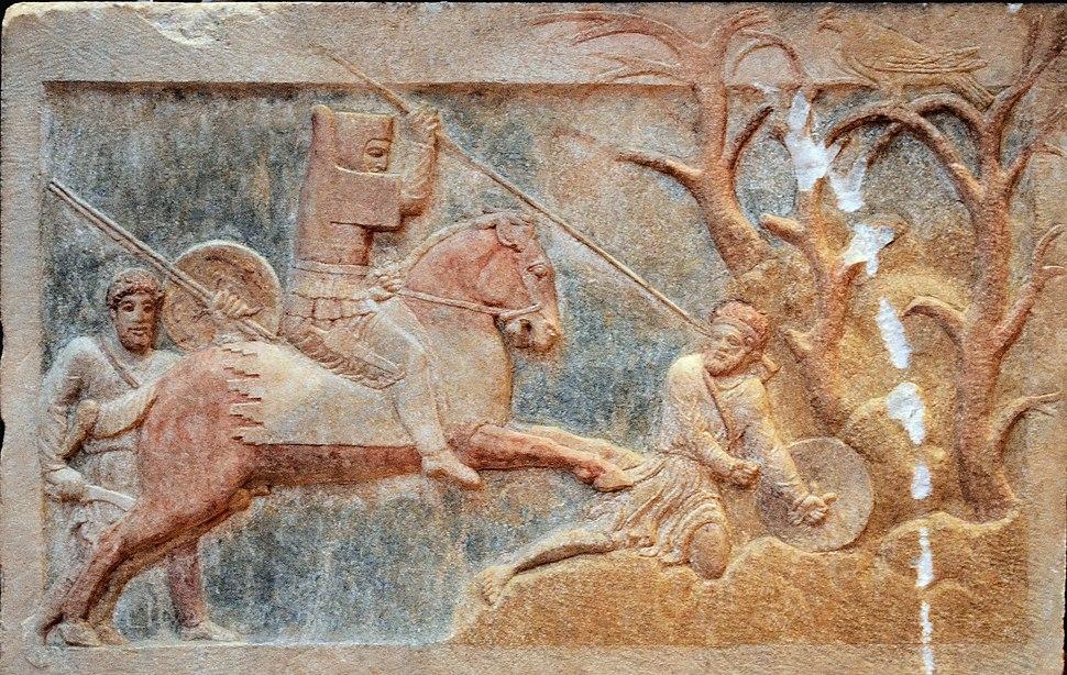 Altıkulaç Sarcophagus Combat scene (detail)