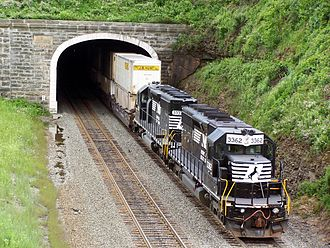 Pittsburgh Line - Helpers on the rear of an intermodal train entering the Gallitzin Tunnel