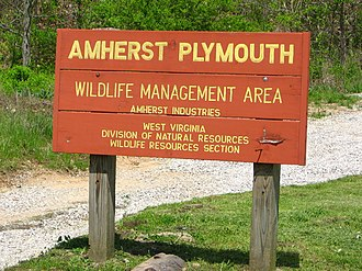 Amherst-Plymouth Wildlife Management Area - A sign marking an entrance to the WMA