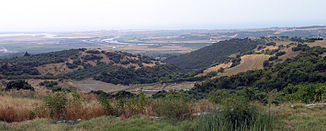 View of the mouth of the Struma (Strymonas) River into the Aegean Sea from Amphipolis