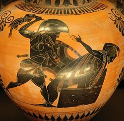 Priam killed by Neoptolemus, son of Achilles, detail of an Attic black-figure amphora, ca. 520 BC–510 BC, Louvre.