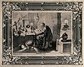 An alchemist at his table, reading a book containing an imag Wellcome V0025565.jpg