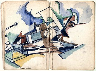 André Mare - André Mare's ink and watercolour painting Le canon de 280 camouflé (The Camouflaged 280 Gun), c.1917, shows a Cubist artist's work for the French army in World War I.