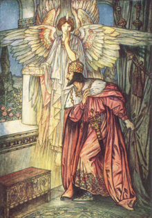 Angel shows a model of Hagia Sofia to Justinian in a vision.png