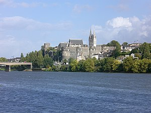 Angers - The Maine, the castle, and the spires of the cathedral