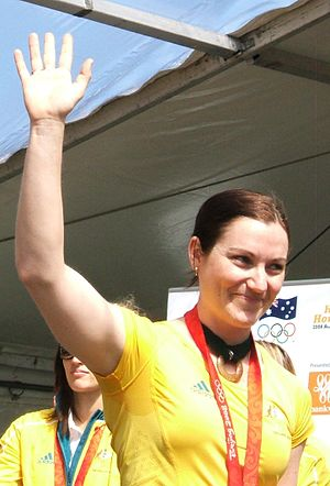 Anna Meares - Meares at the 2008 Olympic homecoming parade in Adelaide