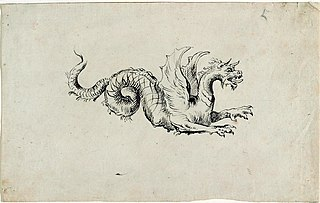 Winged dragon with coiled tail