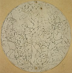 Medallion depicting the stoning of two men