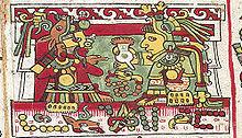 Raffigurazione di due divinità mentre consumano del cioccolato.