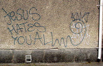 Persecution of Christians in the modern era - Anti-Christian graffiti in Tampere, Finland
