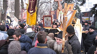Anti-Maidan - Russian Orthodox Anti-Maidan protesters waving Imperial Russian flags and orthodox banners