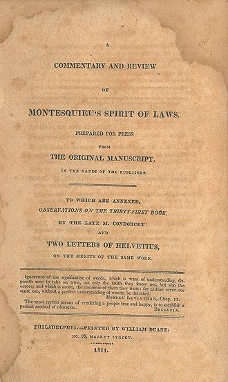 Antoine Destutt de Tracy - Image: Antoine Louis Claude Destutt de Tracy (Thomas Jefferson, transl), A Commentary and Review of Montesquieu's Spirit of Laws (1811, title page)