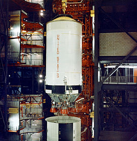 The Apollo 6 S-II stage during stacking operations in the VAB
