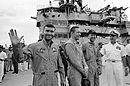 Apollo 13 crew postmission onboard USS Iwo Jima