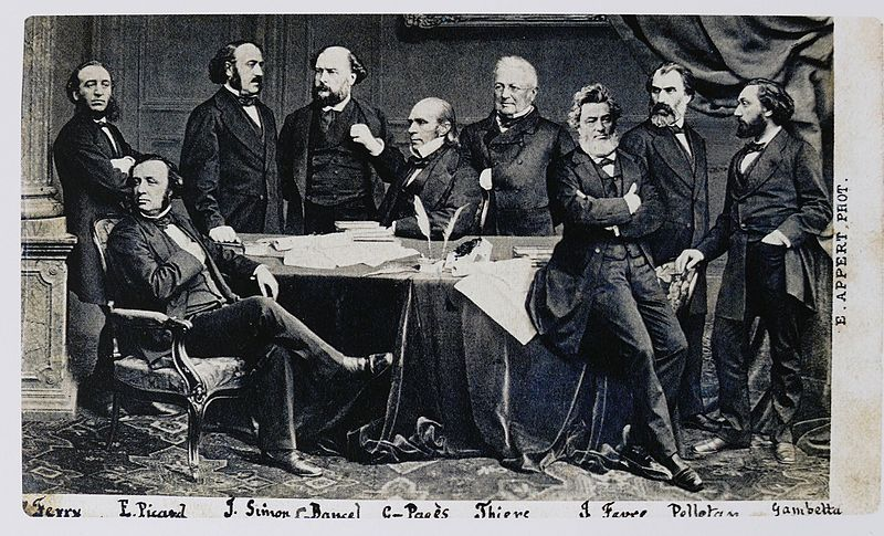 The provisional government in 1870-1871; Thiers in the center, Gambetta at far right. Appert gouvernement provisoire 1870-71.jpg