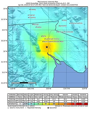 2010 Baja California earthquake - Image: April 2010 Baja California aftershock intensity USGS