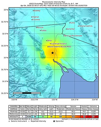 2010 Baja California earthquake - USGS shakemap of one of the strongest aftershocks