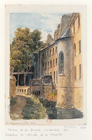 Gobelins Manufactory - Rear view of the Gobelin Manufactory, adjoining the Bièvre river, in 1830.