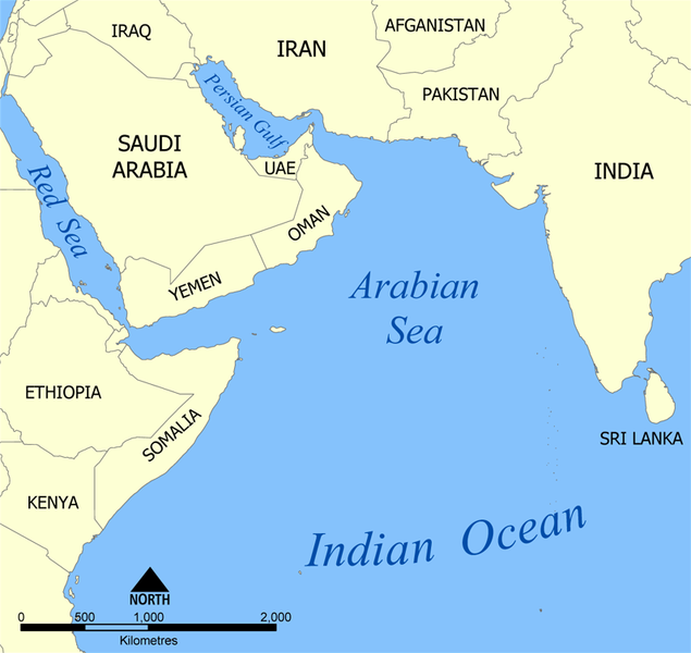 Arabian Sea Map Arabian Sea   Wikipedia Arabian Sea Map