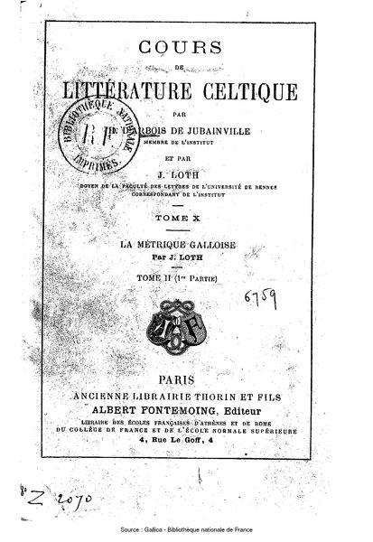 File:Arbois de Jubainville, Loth - Cours de littérature celtique, tome 10.djvu