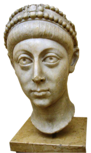 Arcadius - Idealising bust of Arcadius in the Theodosian style combines elements of classicism with the new hieratic style (Istanbul Archaeology Museum)