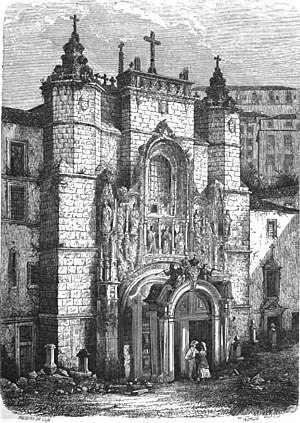 Santa Cruz (Coimbra) - An engraving of the Monastery of Santa Cruz, as it appeared in the 19th century, when it was an abandoned derelict