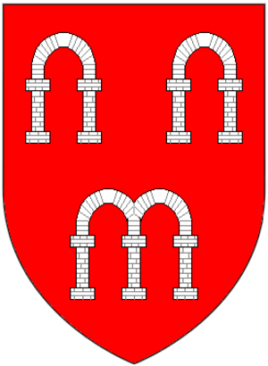 East Hendred - Canting arms of Arches of Arches, East Hendred, Berkshire and of Arches of Eythrope and Cranwell (in Waddesdon) and Little Kimble, Buckinghamshire: Gules, three arches argent