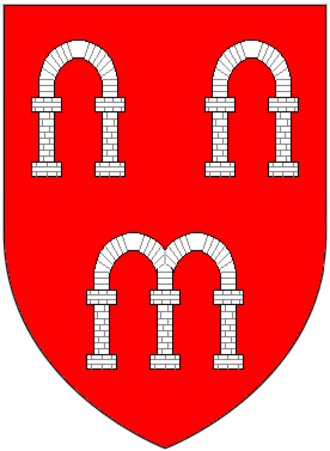 Richard Arches - Canting arms of Arches of Eythrope and Cranwell (in Waddesdon) and Little Kimble, Buckinghamshire (also of Arches of Arches manor, East Hendred, Berkshire) : Gules, three arches argent